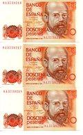 3 BILLETES DE 200 PESETAS 1980 - [ 4] 1975-… : Juan Carlos I