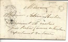 LAC De 74 Bacqueville T15 TDT 25 Pour Castres Boite Rurale C Gueures - 1801-1848: Précurseurs XIX