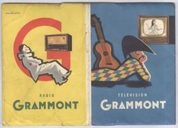 Dépliant Publicitaire Grammont - 4 Fiches Télévision - 8 Fiches Radios Et Electrophones - Pubblicitari