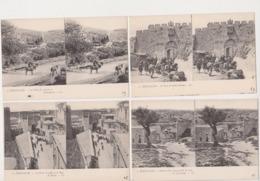 27815 Lot 5 Cpa Stereo Stereoscopique ISRAEL PALESTINE JERUSALEM Cedron Gethsemani Porte Jaffa David Arc St Etienne - Israel
