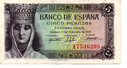 BILLETE DE 5 PESETAS 1943 - [ 3] 1936-1975 : Régence De Franco