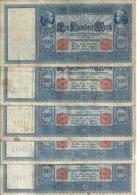 ALLEMAGNE 100 MARK 1910 VF P 42 ( 5 Billets ) - [ 2] 1871-1918 : German Empire