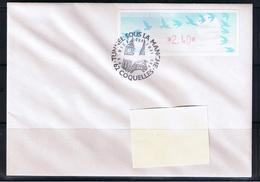 Atm, Lisa1, Pli 2.40, Oiseaux TURQUOISE De Jubert, COQUELLES, 3/05/1994, INAUGURATION DU TUNNEL SOUS LA MANCHE. - 1990 «Oiseaux De Jubert»