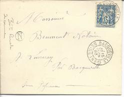 Enveloppe  74 Bacqueville TA2 1893 Pour Luneray Boite Rurale N - Poststempel (Briefe)