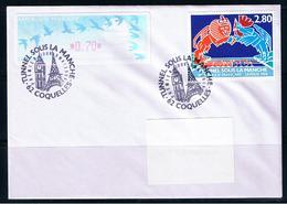 Atm, Lisa1, Timbre 2.80 + 0.70, Oiseaux TURQUOISE De Jubert, FDC, COQUELLES, INAUGURATION Du TUNNEL SOUS LA MANCHE. - 1990 «Oiseaux De Jubert»