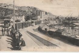 SETE CETTE Vue Sur Les Quais Animation Et Tramway 1912 - Sete (Cette)