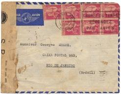 MARCOPHILIE-lettre AVION De PARIS  Cad 1937 Pour RIO (Brésil)  Affrant 7 Types Paix 1.75 Fr N°289 CENSURE Brésil - Air Post