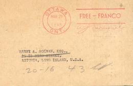 Canada 1946 Tarjeta Division Filatelica Del Canada Marcas Otawa Free Franco - Non Classés