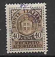 REGNO D'ITALIA LUOGOTENENZA 1945 RECAPITO AUTORIZZATO SASS. 6 USATO VF - 5. 1944-46 Lieutenance & Umberto II