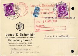 Alemania 1953 Yvert 11 Franqueo Mecanico + Sellos Marcas Varias  Membrete Loos & Schmidt - Lettres & Documents