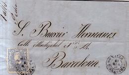 Año 1870 Edifil 107 50m  Sellos Efigie Carta    Matasellos   Valls Tarragona   Pedro Domingo - 1868-70 Gobierno Provisional