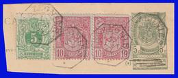 """COB N°45+69+53/Fragment - Belles Oblitérations Télégraphe  """"TRAZEGNIES"""" - Belgique"""