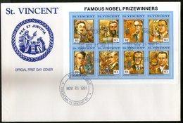 St. Vincent 1991 Nobel Prize Winner Einstein Roentgen Marconi Sc 1563 Sheetlet FDC # 15130 - Nobelpreisträger