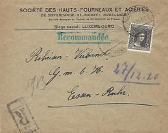 Luxembourg  -  Lettre Recommandé - 23.12.1920 - SOCIÉTÉ DES HAUTS-FOURNEAUX ET ACIERIES , DIFFERDANGE - Luxembourg