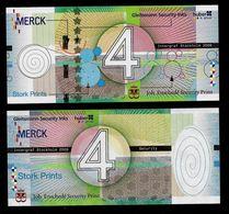 Test Note  MERCK, ENSCHEDE 4 Units, Testnote,  Beids. Druck, RRRRR, UNC, Intaglio, 160x72 Mm - Paises Bajos