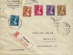 Luxembourg  - Lettre Recommandé - 22.12.1933 -Timbres - Caritas - Le Comte Henri VII -  Th.Faber - Rumelange - Luxembourg