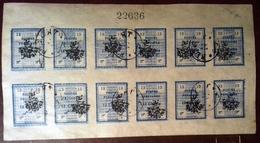 """Poste Persane 1906, 2 Feuillets De 12 Timbres Surchargés """" Provisoire """", Oblitérés (13 Chahis), Neufs * * MNH (3 Chahis) - Collections (sans Albums)"""
