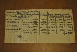 Affiche Ancienne Dordogne  Tarifs Marché Aux Truffes De Saint Alvere En 1988 Traces D Usure Tres Rare - Posters