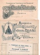 France Lot De 3 Factures Et 6 Traites Avec De Multiples Beaux Cachets Et Timbres Fiscaux Relatif à La Pharmacie Centrale - France