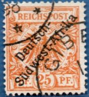 Deutsch Ämter Sudwest-Afrika On 25 Pf, 1897 Cancelled  Gibe..., '98 (top Left) 2005.0337 German Offices, - Colony: German South West Africa
