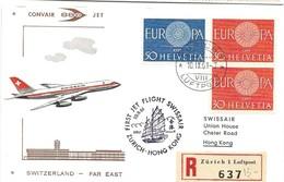 191 - 84 - Enveloppe 1er Vol Swissair Convair 880 Zürich-Hong Kong 1961 - Avions