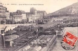 CPA Batellerie  Rouen (76) Nombreuses Péniches  Quai De Paris  Tonneaux  Sacs, Bois, ...  Ed   E D 220 - Péniches