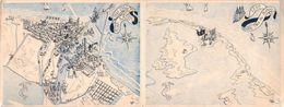 Carte Double PORT FOUAD- Dessin 1859 - 1949 Canal De Suez PORT SAÏD Bonne Année - Egypte