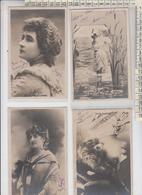Lady , Femme, Dame Actress Cinema Lot 4 Cards Vg - Mujeres