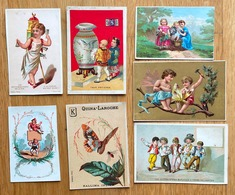 Set Of 7 Old VICTORIAN TRADE CARDs / VTC Fantasy / Children / China / Butterfly CHROMO - Andere