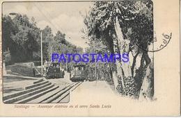 133450 CHILE SANTIAGO ASCENSOR ELECTRICO EN EL CERRO LUCIA & TRAMWAY TRANVIA POSTAL POSTCARD - Cile