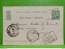 Entier Postaux, Bahnpost Luxembourg-Karthaus 1898 - Postwaardestukken