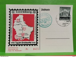 Luxembourg, Postkarte 1941 Tag Der Briefmarke 1941. Stamp 6+4 - 1940-1944 Deutsche Besatzung