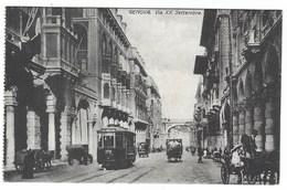 6169 - GENOVA VIA XX SETTEMBRE ANIMATA TRAM CARROZZE 1920 CIRCA - Genova