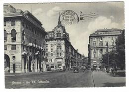 6180 - GENOVA VIA XX SETTEMBRE ANIMATA 1955 - Genova