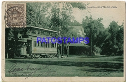 133491 CHILE SANTIAGO PARQUE COUSIÑO TRAMWAY TRANVIA DOBLE CIRCULATED TO ARGENTINA POSTAL POSTCARD - Cile