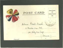Post Card  1914 1916 Trèfle Formé Par Les Drapeaux France Angleterre Blgique Et Pologne Trésor Et Postes 168 Franchise - Marcophilie (Lettres)