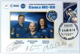 MAKMARKA SPACE RUSSIA 2018.06.06 START SOYUZ MS-09 AUTOGRAPH PROKOPYEV/GERST/AUNON-CHANCELLOR 1 POSTCARD (D-86) - Autogramme & Autographen