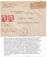 GANDON 25FR GRAVE PAIRE LETTRE PIQUAGE DECALE LETTRE REC AVION ANTONY 6.1.1947 POUR USA RARE - 1945-54 Marianne Of Gandon