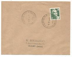 GANDON 20FR GRAVE LETTRE PARIS RP 4.3.1946 1ER JOUR RARE - ....-1949
