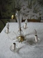 Beau Lustre - Suspension - Verre + Métal  - Vintage - 4  Branches - Art Déco - Lamps