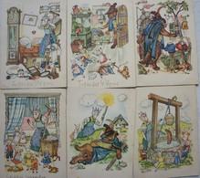 CPAx6 CONTE Légendes Fable Legend 1942 Indanthren Textil ? Pub De Wolf En De Zeven Geitjes Loup Chèvre - Contes, Fables & Légendes