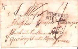 Lettre De PINEROLO Italie Pour Les Hautes Alpes Cachet D'entrée SARD. PONT DE B. En Rouge - Postmark Collection (Covers)