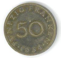 SARRE - SAARLAND - 50 FRANKEN 1954 - Sarre