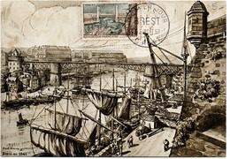Brest 1957 - Carte Dessin De Jim Sevellec Peintre De La Marine Avec Autographe Au Verso - Cartes-Maximum