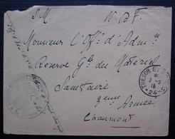 Ambulance Chirurgicale Mobile ? 1915 Trésor Et Postes 24, Lettre Pour La 3eme Armée à Chaumont - Postmark Collection (Covers)