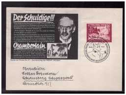 """DR- Reich (008506) Beleg Mit Parole Der Woche """"Der Schuldige!!! Chamberlain"""" Mit SSTMünchen Vom 24.8.1941 - Germany"""