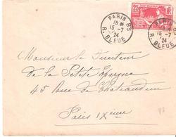25c.VIII° OLYMPIADE PARIS 1924 Seul Sur Lettre Oblitéré PARIS 83 - Poststempel (Briefe)