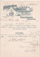 """Fattura Comm.  -  Thalkirchen, Munchen  """" Medic. Chem. Institut """" - Allemagne"""