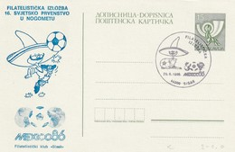 Yugoslavia 1986 Postal Stationery Card: Football Fussball Soccer Calcio; Fifa World Cup Italia 90; 15 DIN Variety - Coupe Du Monde