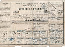 COMPAGNIE DES CHEMINS DE FER DE L'OUEST - CAISSE DES RETRAITES - CERTFICAT DE PENSION 27AOUT 1903 - Old Paper